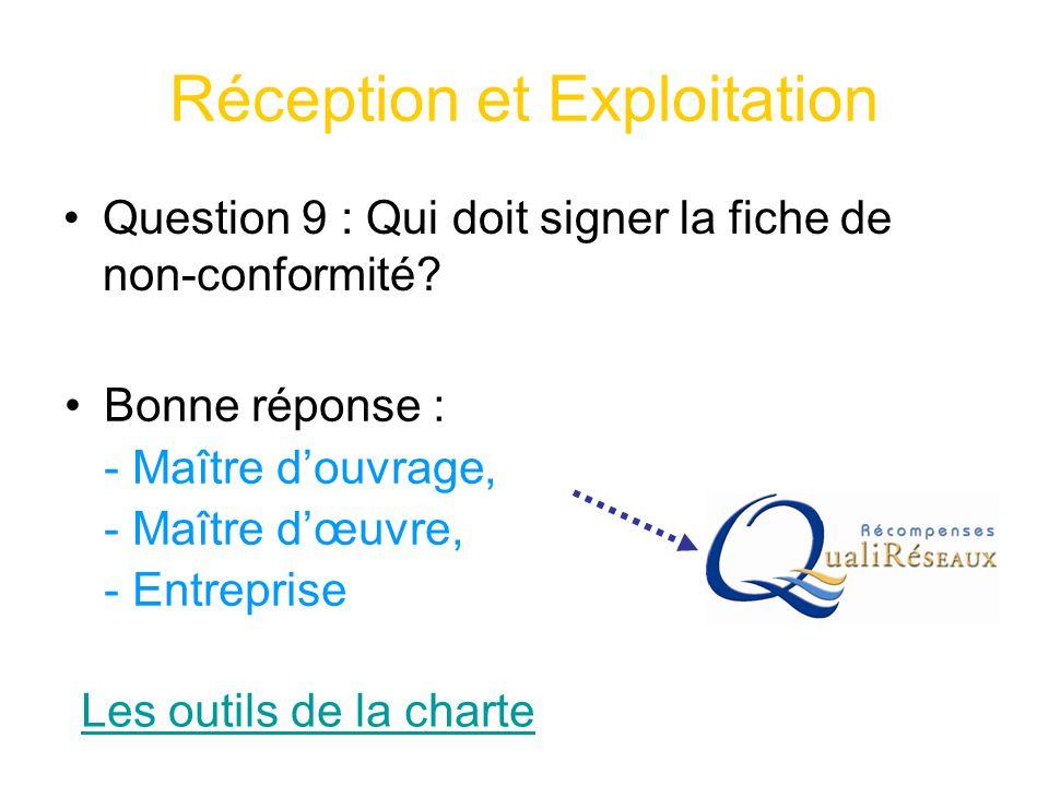 Réception et Exploitation Question 9 : Qui doit signer la fiche de non-conformité? Les outils de la charte Bonne réponse : - Maître d'ouvrage, - Maîtr