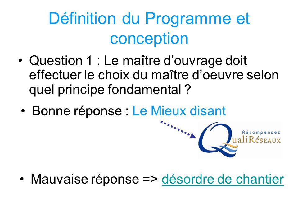 Définition du Programme et conception Question 1 : Le maître d'ouvrage doit effectuer le choix du maître d'oeuvre selon quel principe fondamental ? Ma