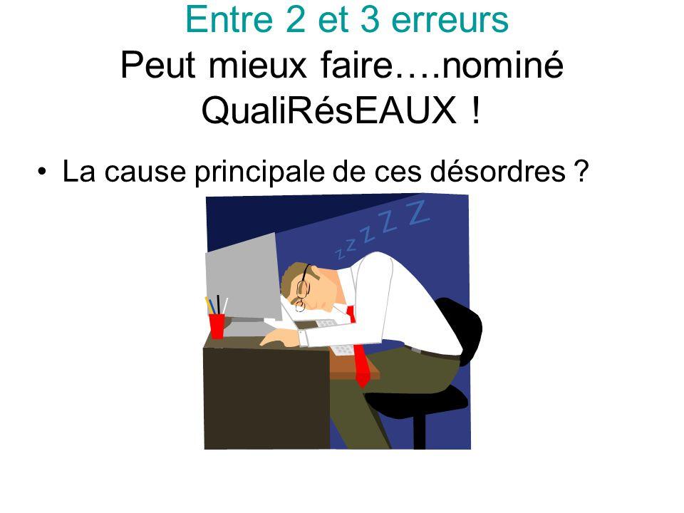 Entre 2 et 3 erreurs Peut mieux faire….nominé QualiRésEAUX ! La cause principale de ces désordres ?
