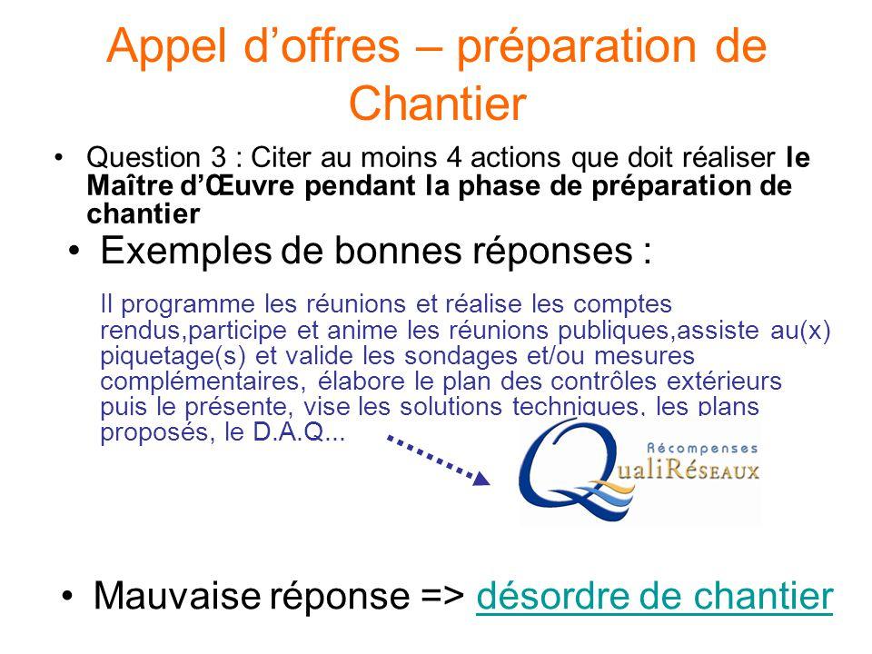 Appel d'offres – préparation de Chantier Question 3 : Citer au moins 4 actions que doit réaliser le Maître d'Œuvre pendant la phase de préparation de