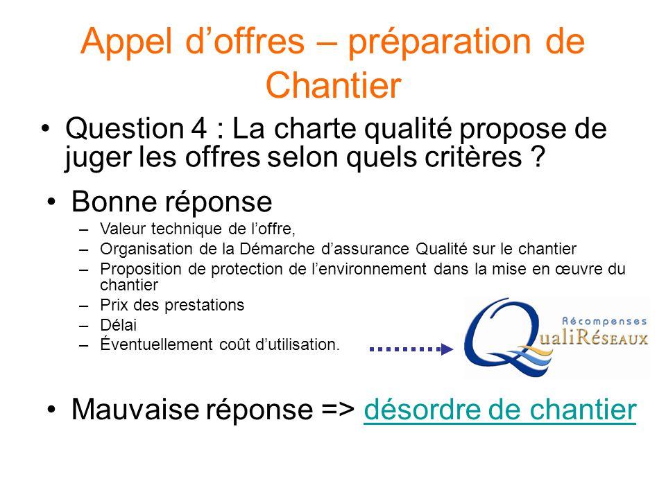 Appel d'offres – préparation de Chantier Question 4 : La charte qualité propose de juger les offres selon quels critères ? Bonne réponse –Valeur techn