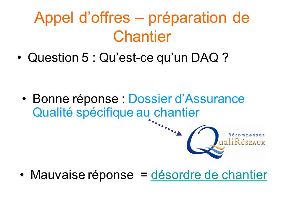 Appel d'offres – préparation de Chantier Question 5 : Qu'est-ce qu'un DAQ ? Bonne réponse : Dossier d'Assurance Qualité spécifique au chantier Mauvais