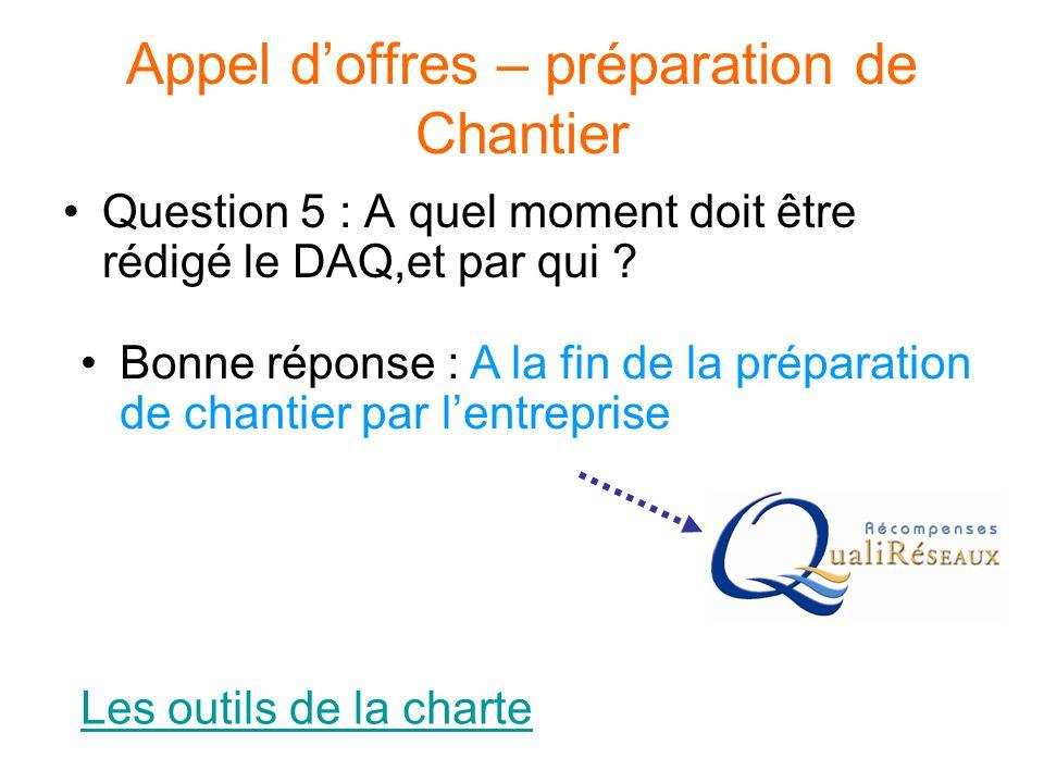 Appel d'offres – préparation de Chantier Question 5 : A quel moment doit être rédigé le DAQ,et par qui ? Les outils de la charte Bonne réponse : A la