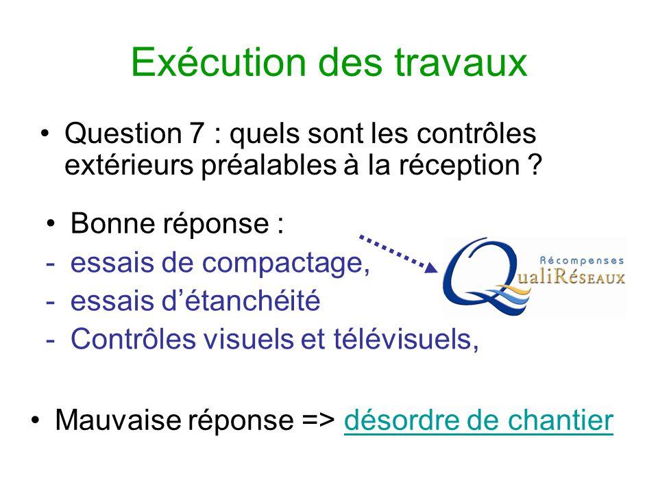 Exécution des travaux Question 7 : quels sont les contrôles extérieurs préalables à la réception ? Mauvaise réponse => désordre de chantierdésordre de