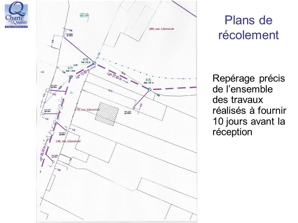Plans de récolement Repérage précis de l'ensemble des travaux réalisés à fournir 10 jours avant la réception