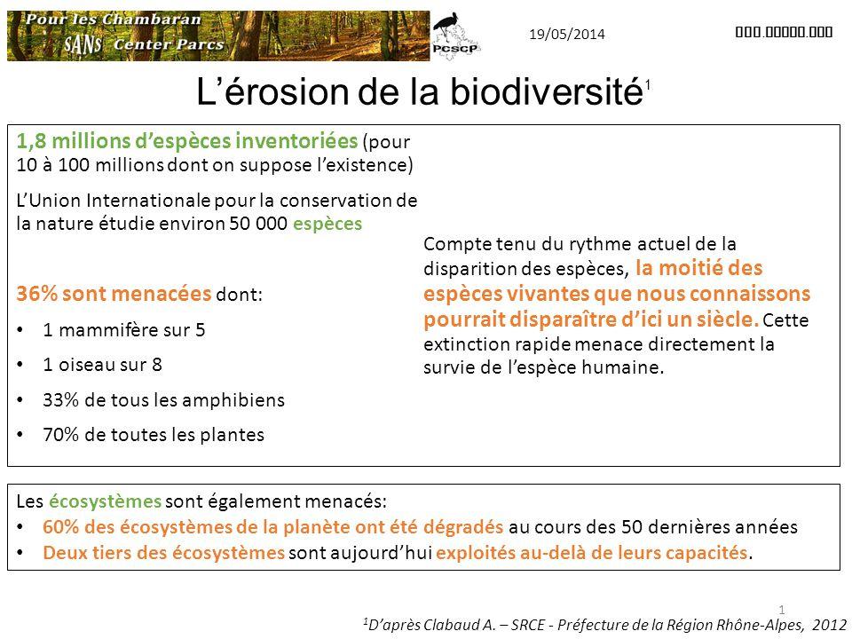 L'érosion de la biodiversité 1 1,8 millions d'espèces inventoriées (pour 10 à 100 millions dont on suppose l'existence) L'Union Internationale pour la