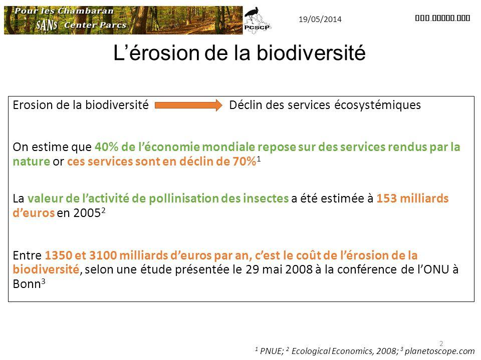 Erosion de la biodiversité Déclin des services écosystémiques On estime que 40% de l'économie mondiale repose sur des services rendus par la nature or