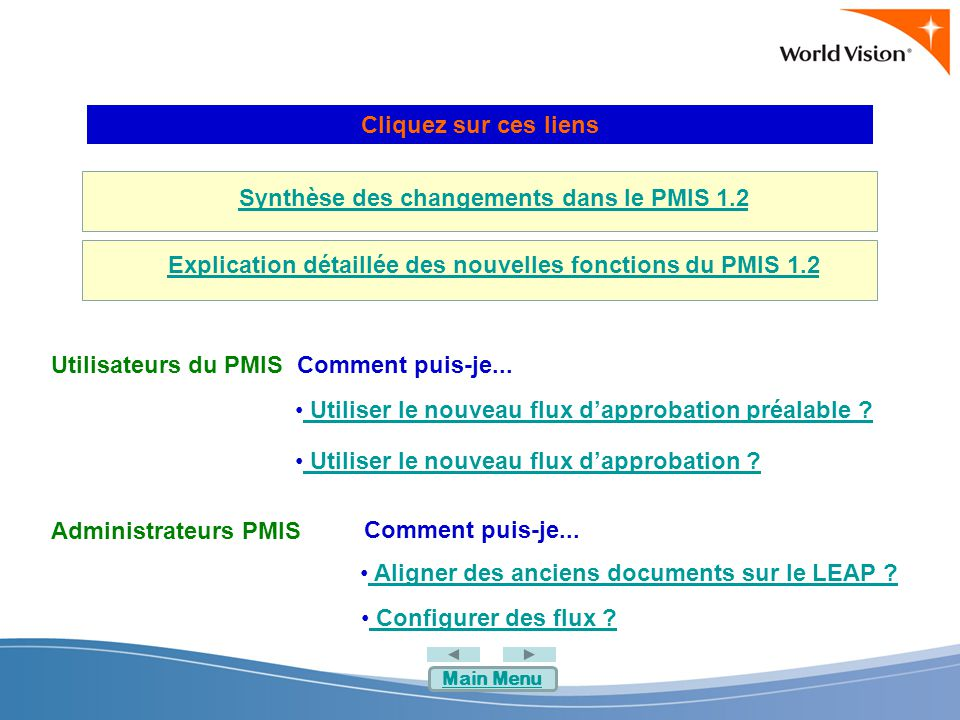 Synthèse des changements dans le PMIS 1.2 Explication détaillée des nouvelles fonctions du PMIS 1.2 Cliquez sur ces liens Comment puis-je...