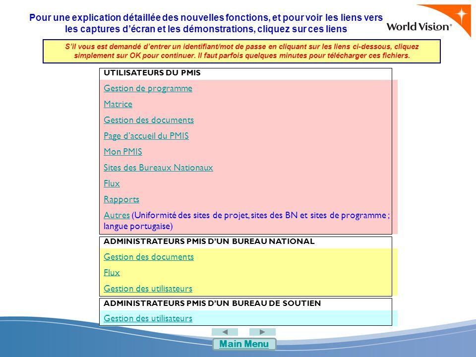 Autres FonctionnalitéPMIS 1.1PMIS 1.2 Uniformité des sites des projets, des BN et des programmes Les fonctionnalités des bibliothèques de documents sont différentes Les fonctionnalités qui sont disponibles dans les bibliothèques de documents des programmes, des projets et des BN sont :  Publication  Numérotation des versions  Enregistrement et extraction  Flux de révision et d'approbation initiale Langue portugaiseLangue portugaise non disponible Le portugais est disponible pour :  messages système  navigation  contenu texte  aide  titres des données  messages d'erreur Main Menu