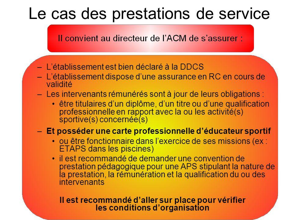 –L'établissement est bien déclaré à la DDCS –L'établissement dispose d'une assurance en RC en cours de validité –Les intervenants rémunérés sont à jou