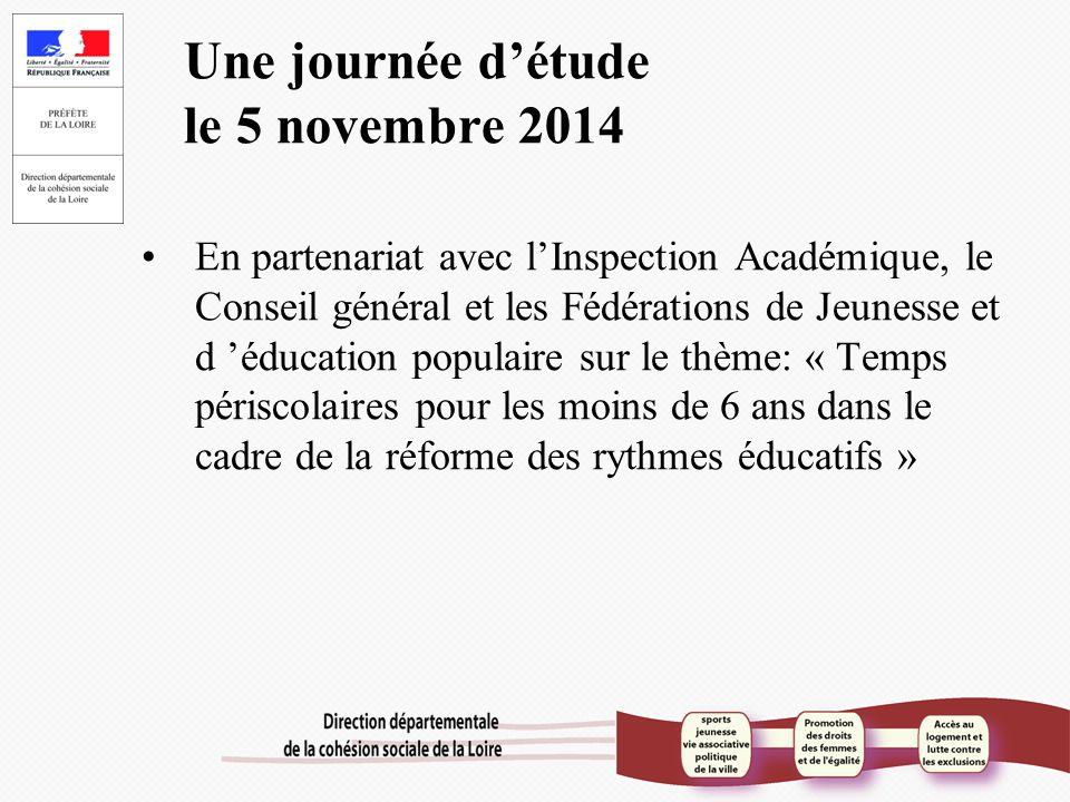 Une journée d'étude le 5 novembre 2014 En partenariat avec l'Inspection Académique, le Conseil général et les Fédérations de Jeunesse et d 'éducation