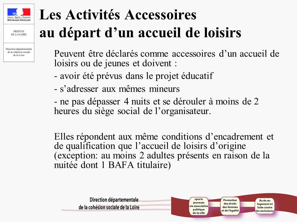 Les Activités Accessoires au départ d'un accueil de loisirs Peuvent être déclarés comme accessoires d'un accueil de loisirs ou de jeunes et doivent :