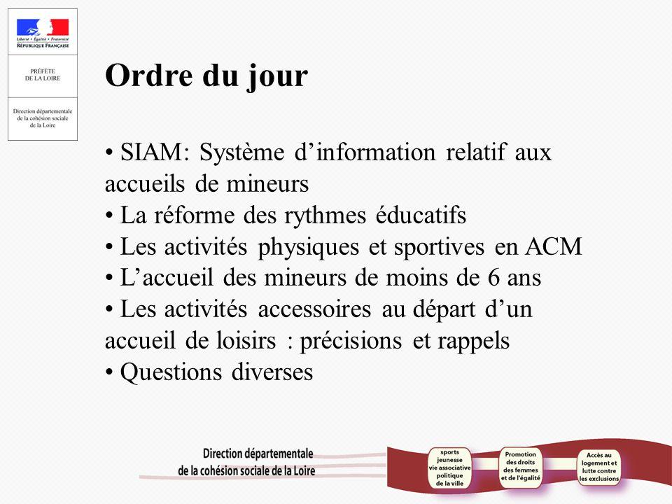 Ordre du jour SIAM: Système d'information relatif aux accueils de mineurs La réforme des rythmes éducatifs Les activités physiques et sportives en ACM