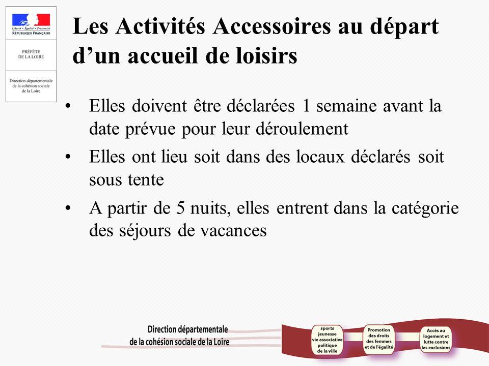 Les Activités Accessoires au départ d'un accueil de loisirs Elles doivent être déclarées 1 semaine avant la date prévue pour leur déroulement Elles on