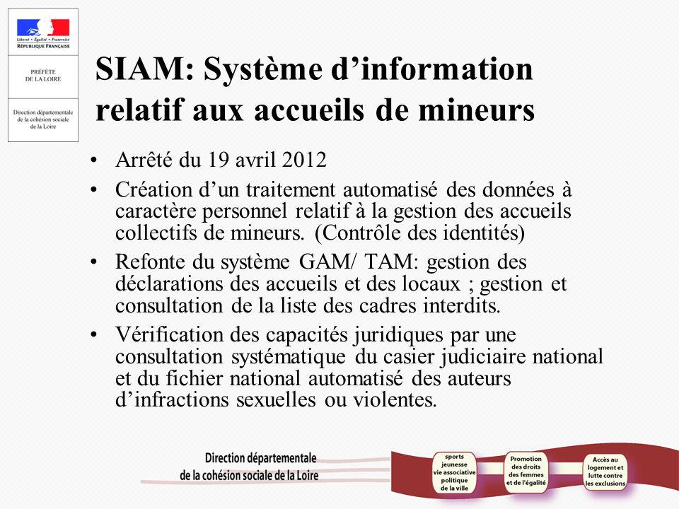 SIAM: Système d'information relatif aux accueils de mineurs Arrêté du 19 avril 2012 Création d'un traitement automatisé des données à caractère person