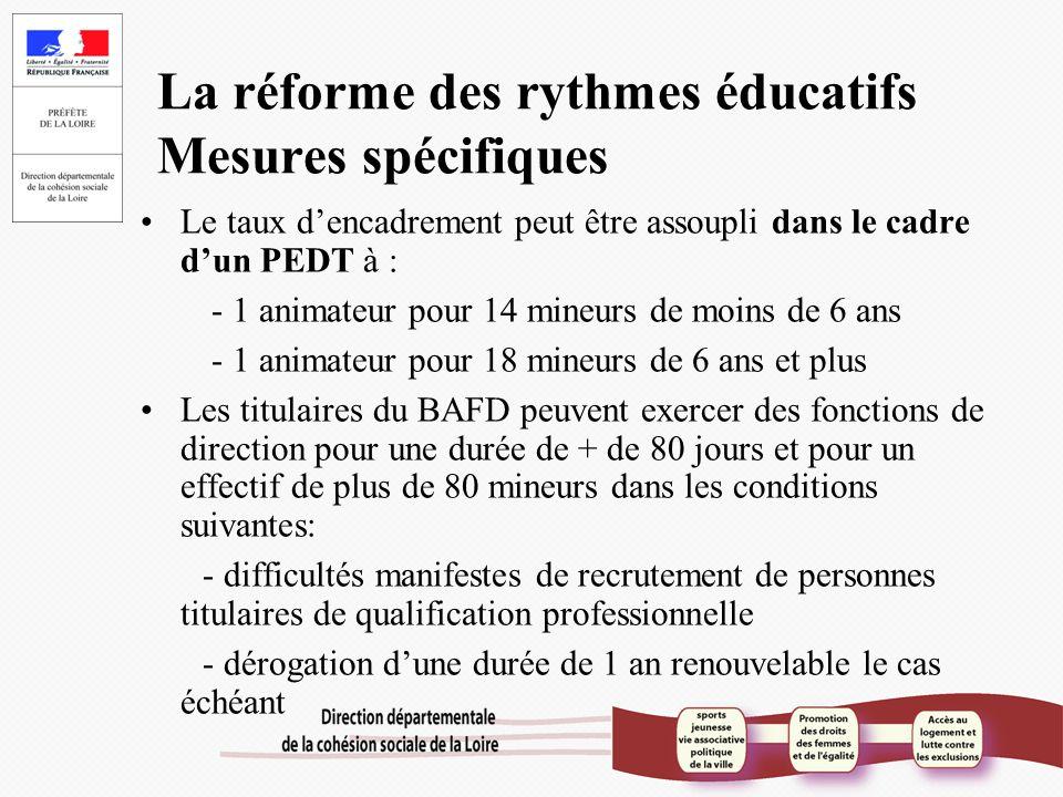 La réforme des rythmes éducatifs Mesures spécifiques Le taux d'encadrement peut être assoupli dans le cadre d'un PEDT à : - 1 animateur pour 14 mineur