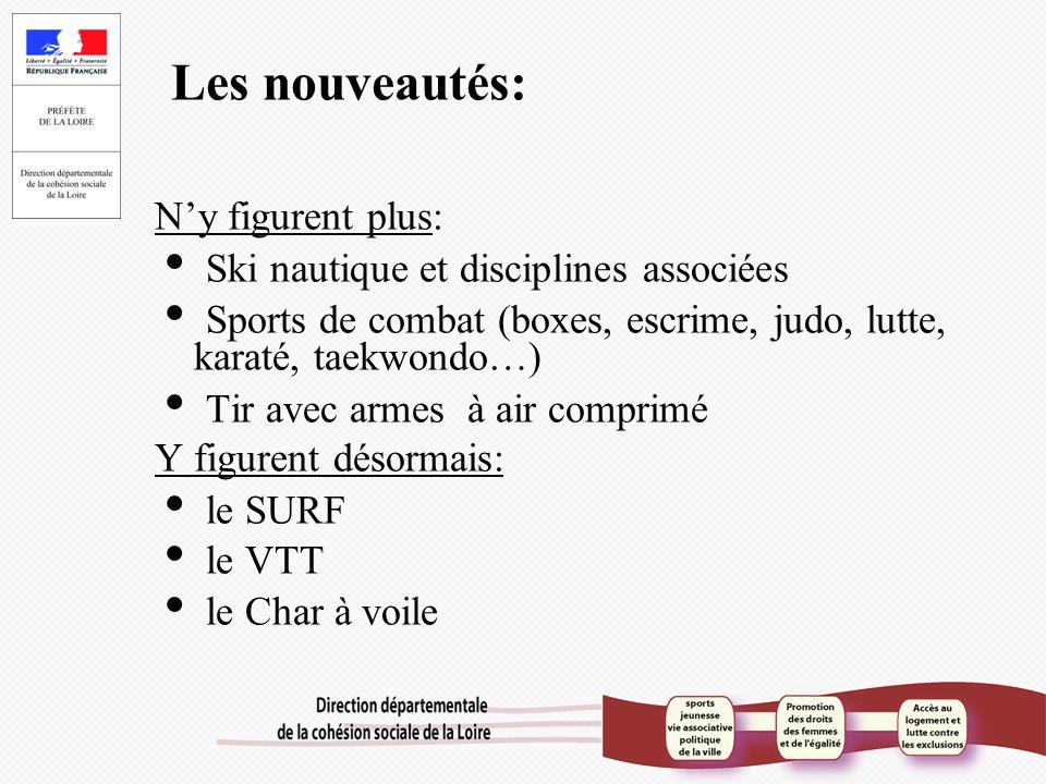 Les nouveautés: N'y figurent plus:  Ski nautique et disciplines associées  Sports de combat (boxes, escrime, judo, lutte, karaté, taekwondo…)  Tir