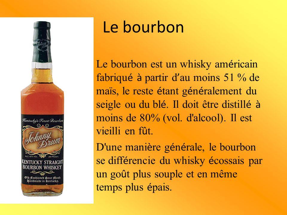 Le bourbon Le bourbon est un whisky am é ricain fabriqu é à partir d ' au moins 51 % de ma ï s, le reste é tant g é n é ralement du seigle ou du bl é.