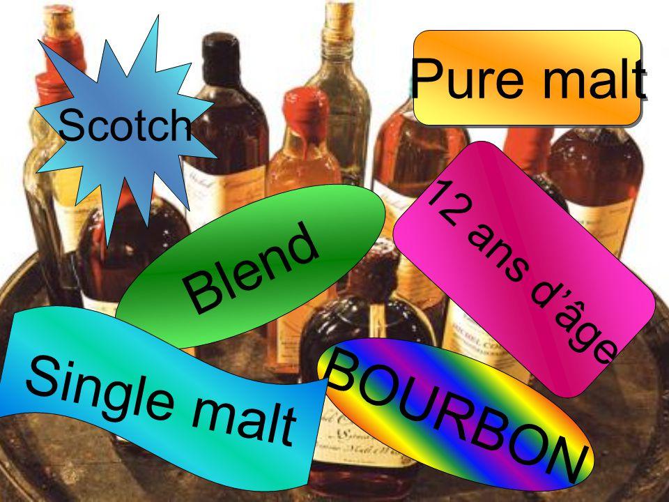 BOURBON Blend Scotch Single malt 12 ans d'âge Pure malt