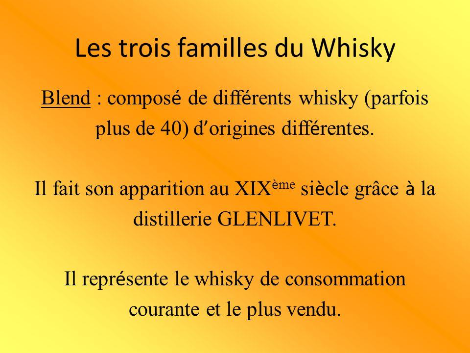 Les trois familles du Whisky Blend : compos é de diff é rents whisky (parfois plus de 40) d ' origines diff é rentes. Il fait son apparition au XIX è