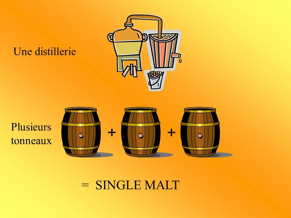 Les pure malt Vatted malt : Assemblage de single malt provenant de différentes distilleries.
