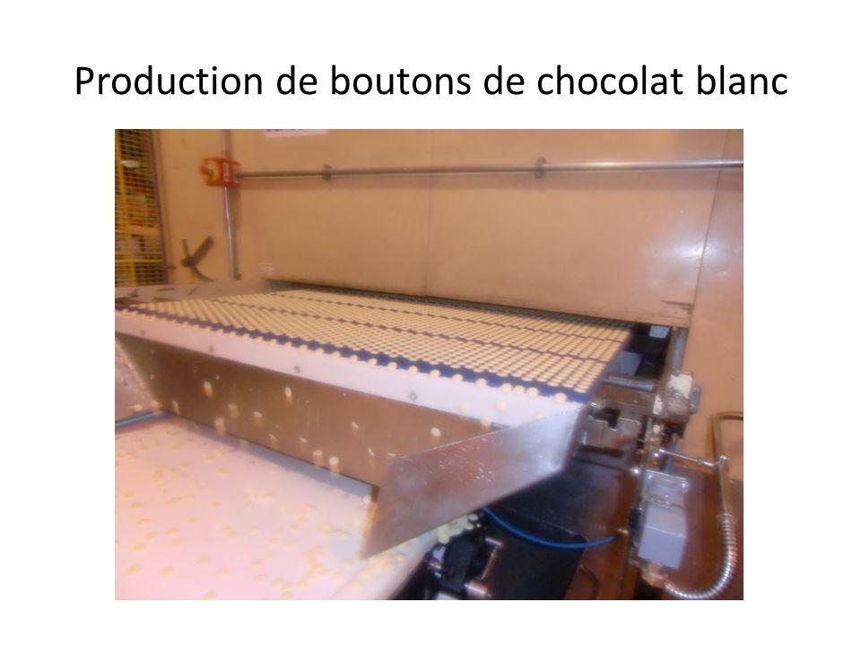 Production de boutons de chocolat blanc