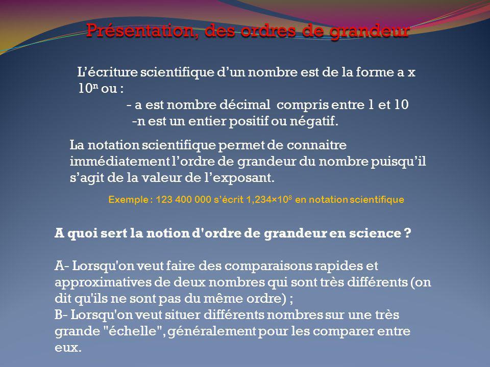 Présentation, des ordres de grandeur L'écriture scientifique d'un nombre est de la forme a x 10 n ou : - a est nombre décimal compris entre 1 et 10 -n