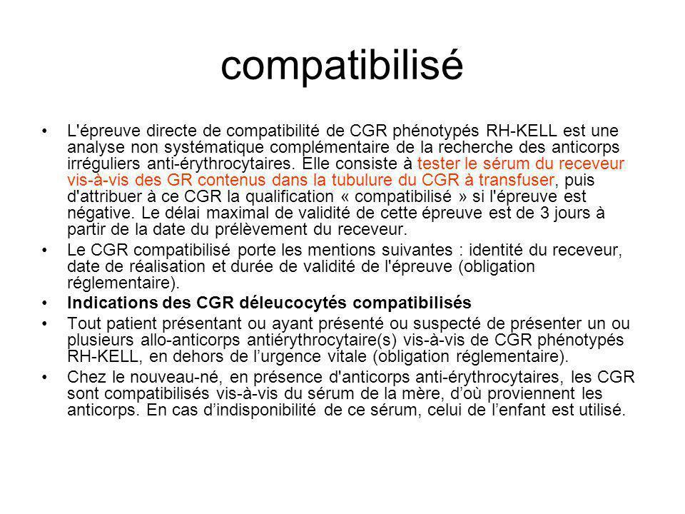 compatibilisé L épreuve directe de compatibilité de CGR phénotypés RH-KELL est une analyse non systématique complémentaire de la recherche des anticorps irréguliers anti-érythrocytaires.