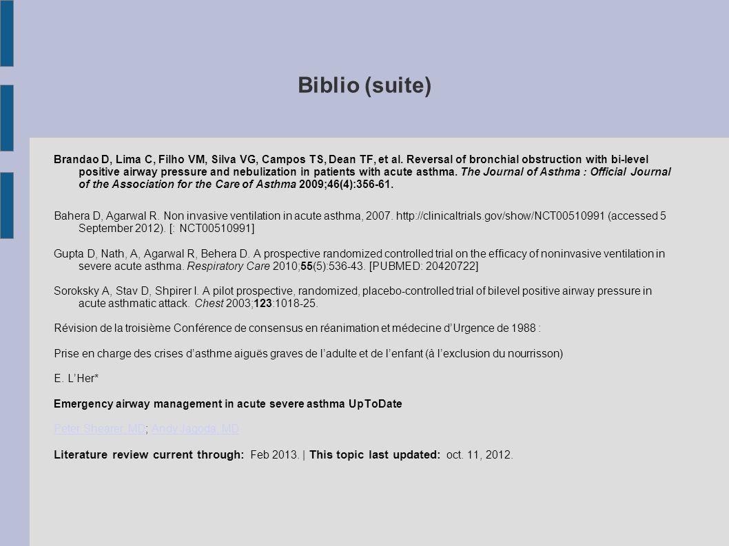 Biblio (suite) Brandao D, Lima C, Filho VM, Silva VG, Campos TS, Dean TF, et al.