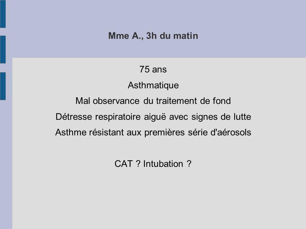 Mme A., 3h du matin 75 ans Asthmatique Mal observance du traitement de fond Détresse respiratoire aiguë avec signes de lutte Asthme résistant aux premières série d aérosols CAT .