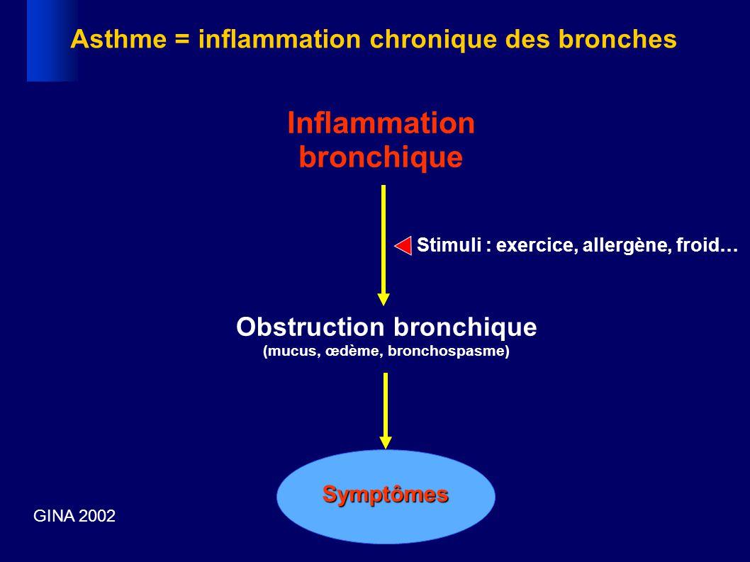 Symptômes Inflammation bronchique Asthme = inflammation chronique des bronches Obstruction bronchique (mucus, œdème, bronchospasme) Stimuli : exercice, allergène, froid… GINA 2002