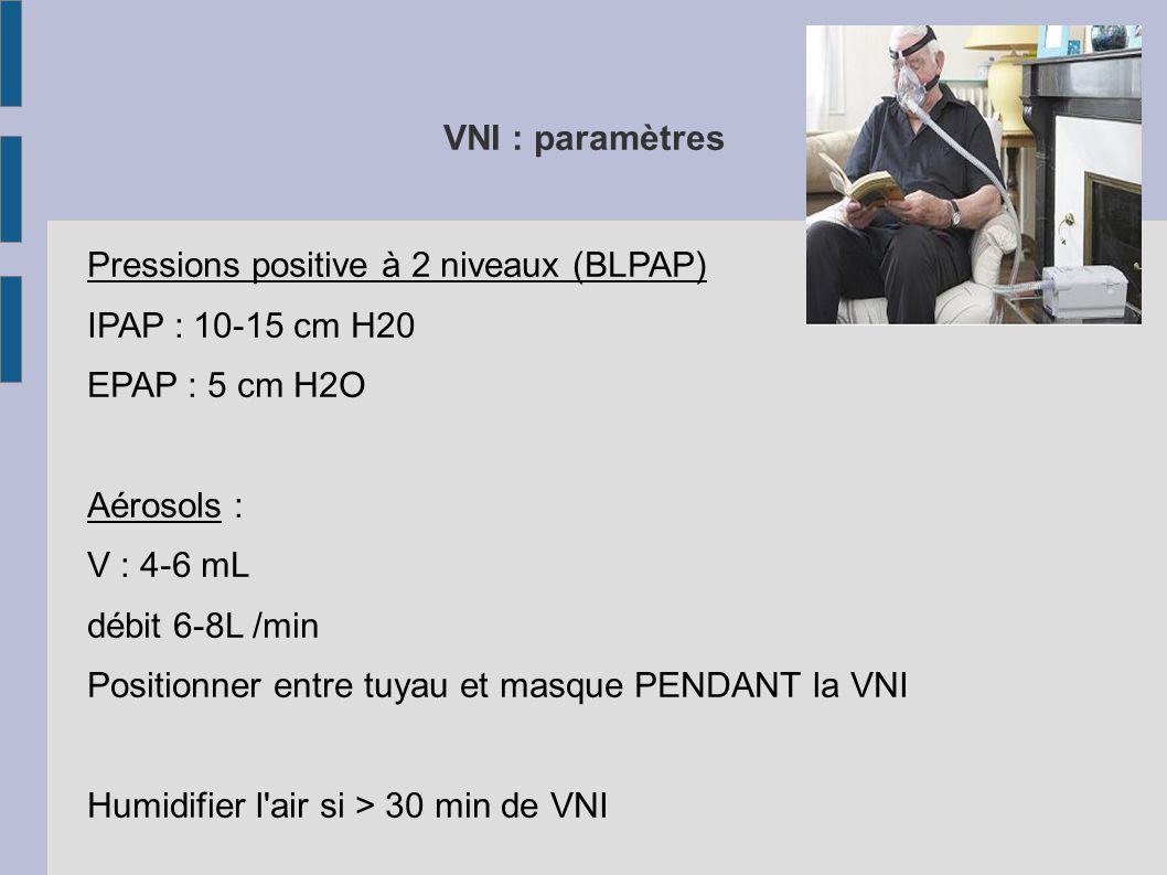VNI : paramètres Pressions positive à 2 niveaux (BLPAP) IPAP : 10-15 cm H20 EPAP : 5 cm H2O Aérosols : V : 4-6 mL débit 6-8L /min Positionner entre tuyau et masque PENDANT la VNI Humidifier l air si > 30 min de VNI