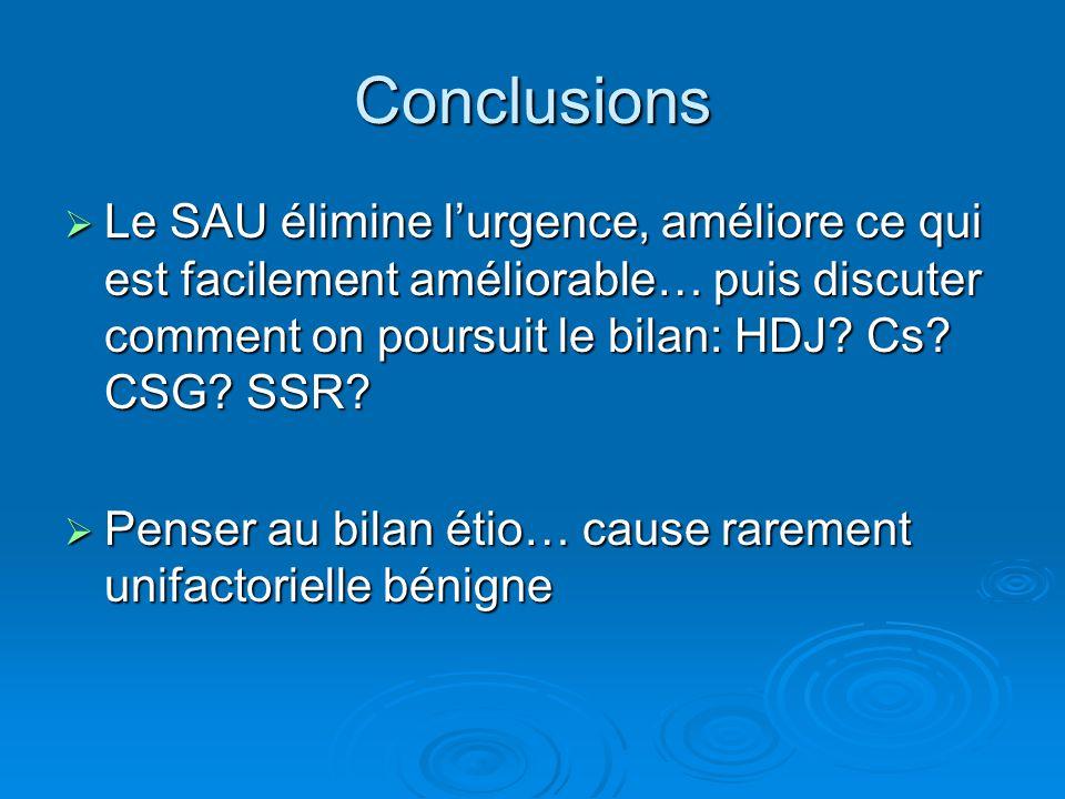 Conclusions  Le SAU élimine l'urgence, améliore ce qui est facilement améliorable… puis discuter comment on poursuit le bilan: HDJ? Cs? CSG? SSR?  P