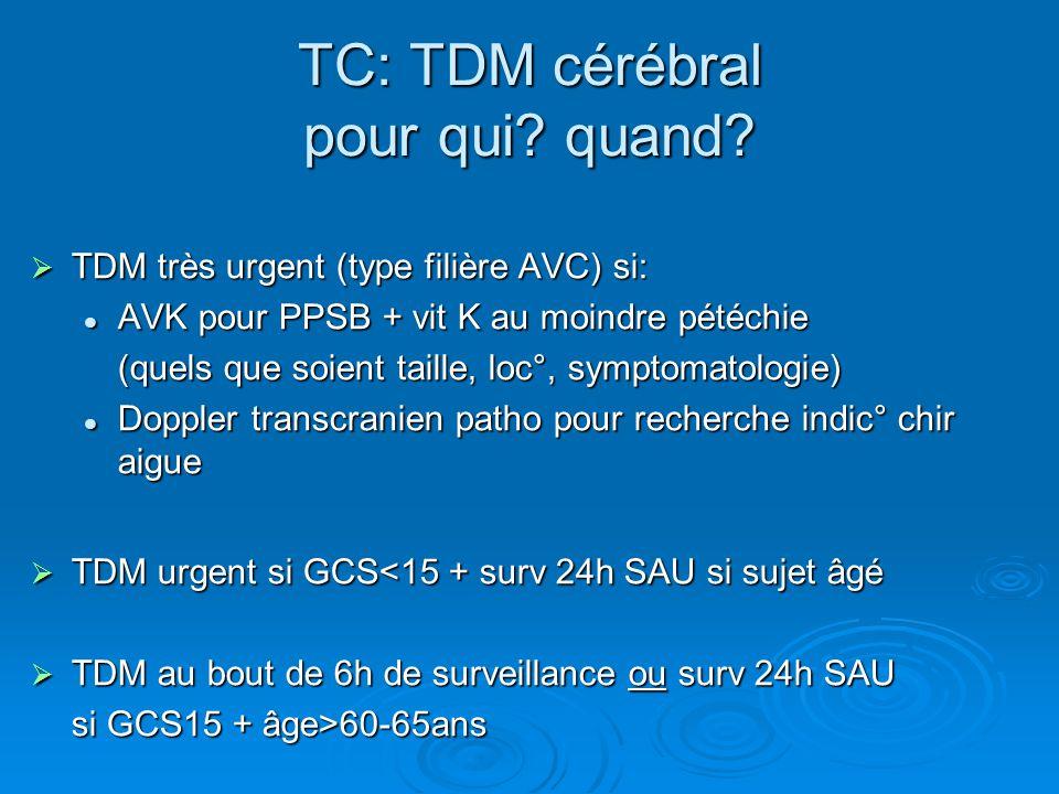 TC: TDM cérébral pour qui? quand?  TDM très urgent (type filière AVC) si: AVK pour PPSB + vit K au moindre pétéchie AVK pour PPSB + vit K au moindre