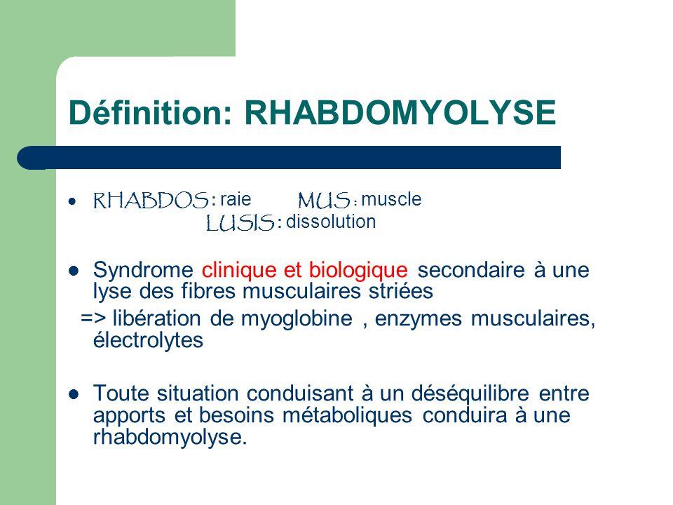 Définition: RHABDOMYOLYSE RHABDOS : raie MUS : muscle LUSIS : dissolution Syndrome clinique et biologique secondaire à une lyse des fibres musculaires