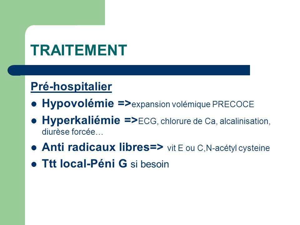 Hospitalier Hypervolémie pour entraîner une polyurie et reperfusion =>diluer la myoglobine…!!!OAP Alcaliniser les urines=>baisser la précipitation tubulaire Sonde vésicale =>diurèse surveillée par BU (PH alcalin et myoglobinurie neg) Glucose et insuline pour hyperkaliémie Traitement de la cause =>Bicarbonate + mannitol VS sérum physiologique seul PLUSIEURS ETUDES