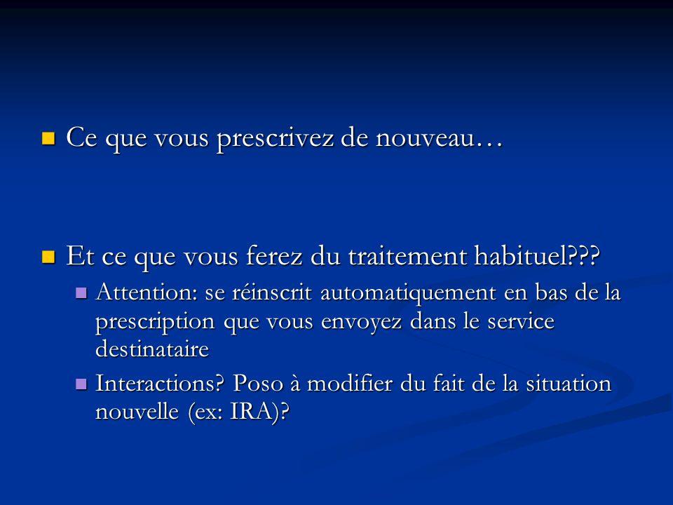 Ce que vous prescrivez de nouveau… Ce que vous prescrivez de nouveau… Et ce que vous ferez du traitement habituel??.