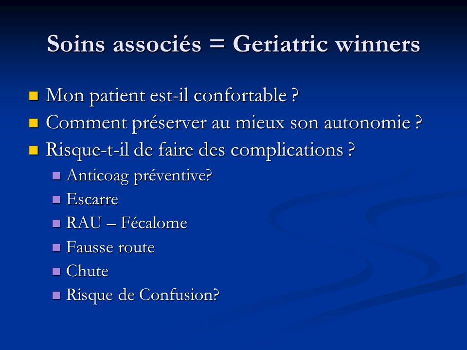 Soins associés = Geriatric winners Mon patient est-il confortable .