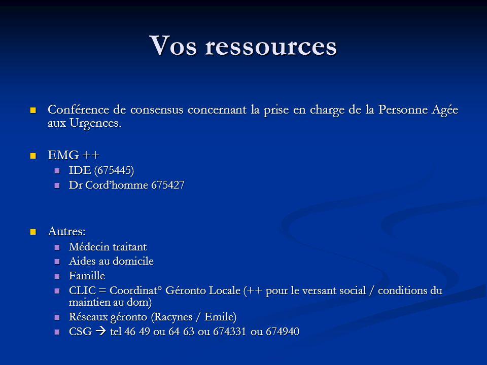 Vos ressources Conférence de consensus concernant la prise en charge de la Personne Agée aux Urgences.