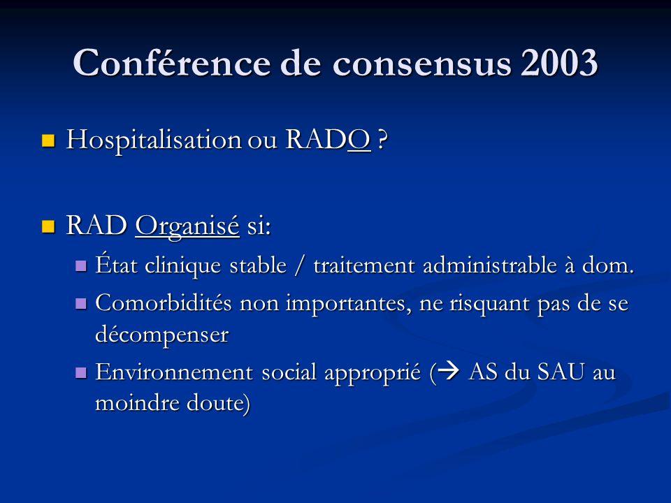 Conférence de consensus 2003 Hospitalisation ou RADO .