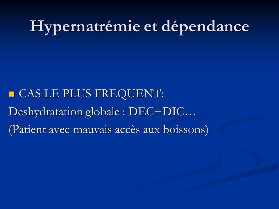 Hypernatrémie et dépendance CAS LE PLUS FREQUENT: CAS LE PLUS FREQUENT: Deshydratation globale : DEC+DIC… (Patient avec mauvais accès aux boissons)