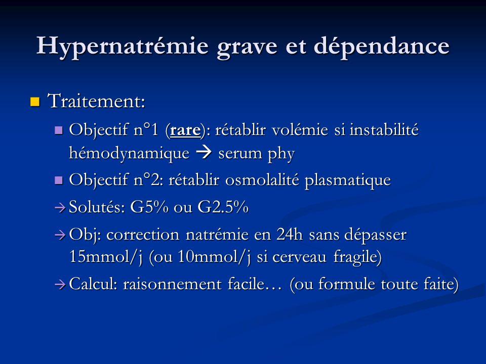 Hypernatrémie grave et dépendance Traitement: Traitement: Objectif n°1 (rare): rétablir volémie si instabilité hémodynamique  serum phy Objectif n°1 (rare): rétablir volémie si instabilité hémodynamique  serum phy Objectif n°2: rétablir osmolalité plasmatique Objectif n°2: rétablir osmolalité plasmatique  Solutés: G5% ou G2.5%  Obj: correction natrémie en 24h sans dépasser 15mmol/j (ou 10mmol/j si cerveau fragile)  Calcul: raisonnement facile… (ou formule toute faite)