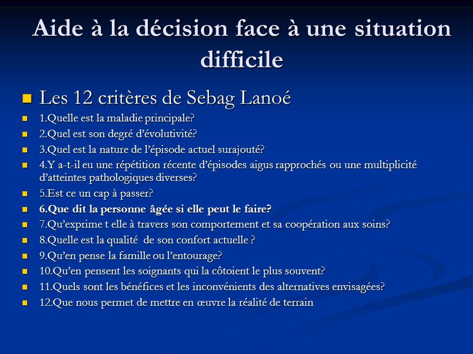 Aide à la décision face à une situation difficile Les 12 critères de Sebag Lanoé Les 12 critères de Sebag Lanoé 1.Quelle est la maladie principale.