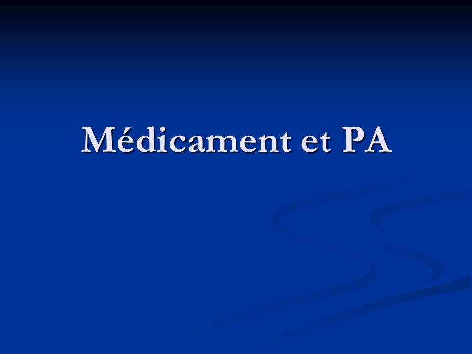 Médicament et PA