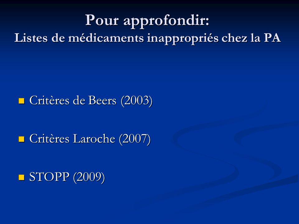 Pour approfondir: Listes de médicaments inappropriés chez la PA Critères de Beers (2003) Critères de Beers (2003) Critères Laroche (2007) Critères Laroche (2007) STOPP (2009) STOPP (2009)