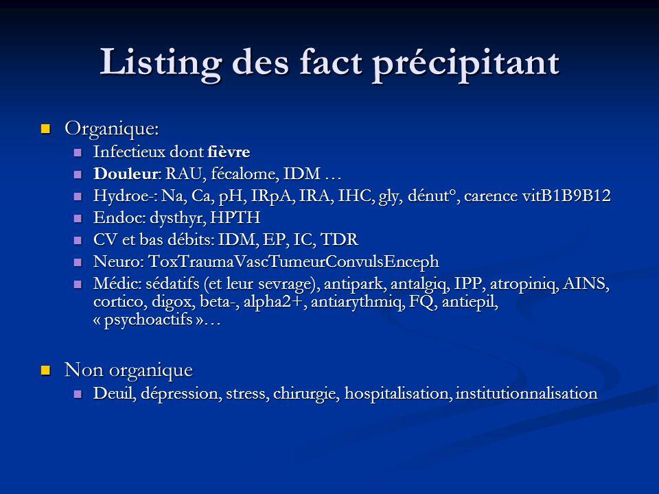 Listing des fact précipitant Organique: Organique: Infectieux dont fièvre Infectieux dont fièvre Douleur: RAU, fécalome, IDM … Douleur: RAU, fécalome, IDM … Hydroe-: Na, Ca, pH, IRpA, IRA, IHC, gly, dénut°, carence vitB1B9B12 Hydroe-: Na, Ca, pH, IRpA, IRA, IHC, gly, dénut°, carence vitB1B9B12 Endoc: dysthyr, HPTH Endoc: dysthyr, HPTH CV et bas débits: IDM, EP, IC, TDR CV et bas débits: IDM, EP, IC, TDR Neuro: ToxTraumaVascTumeurConvulsEnceph Neuro: ToxTraumaVascTumeurConvulsEnceph Médic: sédatifs (et leur sevrage), antipark, antalgiq, IPP, atropiniq, AINS, cortico, digox, beta-, alpha2+, antiarythmiq, FQ, antiepil, « psychoactifs »… Médic: sédatifs (et leur sevrage), antipark, antalgiq, IPP, atropiniq, AINS, cortico, digox, beta-, alpha2+, antiarythmiq, FQ, antiepil, « psychoactifs »… Non organique Non organique Deuil, dépression, stress, chirurgie, hospitalisation, institutionnalisation Deuil, dépression, stress, chirurgie, hospitalisation, institutionnalisation