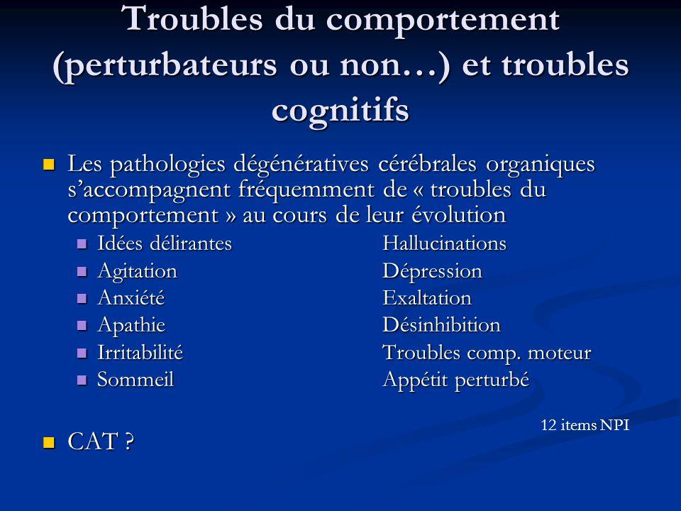 Troubles du comportement (perturbateurs ou non…) et troubles cognitifs Les pathologies dégénératives cérébrales organiques s'accompagnent fréquemment de « troubles du comportement » au cours de leur évolution Les pathologies dégénératives cérébrales organiques s'accompagnent fréquemment de « troubles du comportement » au cours de leur évolution Idées délirantesHallucinations Idées délirantesHallucinations AgitationDépression AgitationDépression AnxiétéExaltation AnxiétéExaltation ApathieDésinhibition ApathieDésinhibition IrritabilitéTroubles comp.