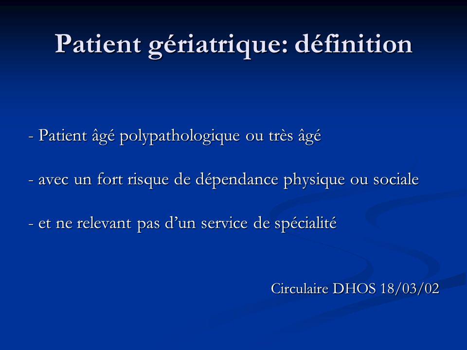 Patient gériatrique: définition - Patient âgé polypathologique ou très âgé - avec un fort risque de dépendance physique ou sociale - et ne relevant pas d'un service de spécialité Circulaire DHOS 18/03/02