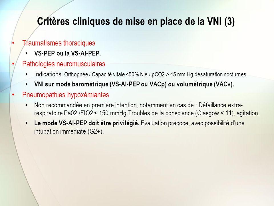 Critères cliniques de mise en place de la VNI (3) Traumatismes thoraciques VS-PEP ou la VS-AI-PEP. Pathologies neuromusculaires Indications: Orthopnée
