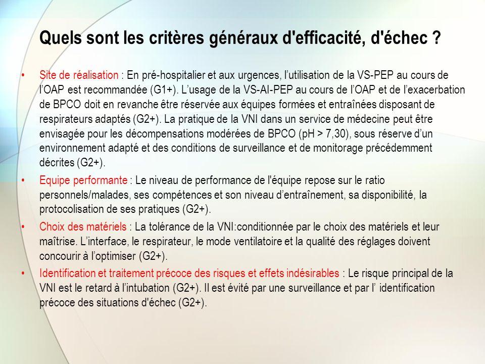 Quels sont les critères généraux d'efficacité, d'échec ? Site de réalisation : En pré-hospitalier et aux urgences, l'utilisation de la VS-PEP au cours